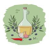 Olivolja på grönsakerna royaltyfri illustrationer