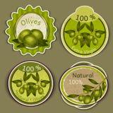 Olivoljaetiketter vektor illustrationer