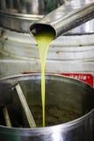 Olivoljastekflott ut ur en press Arkivfoton