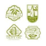 Olivoljavektorsymboler för olivproduktetiketter vektor illustrationer