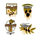 Olivoljavektorsymboler och nya gröna oliv stock illustrationer