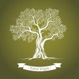 Olivträd. Olivolja. Vektorolivträd. För etiketter packe. stock illustrationer