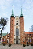 Oliwa Cathedral facade. Sopot, Poland - March 07 2016: Exterior of the Oliwa Cathedral, located in Oliwa park of Gdansk Royalty Free Stock Photography
