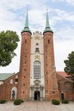 Oliwa Cathedral in Gdansk. Medieval Oliwa Cathedral in Gdansk, Poland, viewed from the front Royalty Free Stock Images