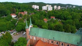 Oliwa Cathedral in Sopot. Bird-eye view of the Oliwa Cathedral in Sopot, Poland stock video