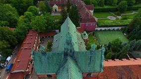 Oliwa Cathedral in Sopot. Bird-eye view of the Oliwa Cathedral in Sopot, Poland stock footage