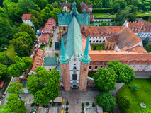 Oliwa Cathedral, top view. Bird-eye view of the Oliwa Cathedral in Sopot, Poland Stock Photography