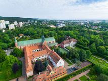 Oliwa Cathedral, top view. Bird-eye view of the Oliwa Cathedral in Sopot, Poland Royalty Free Stock Photography