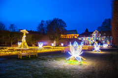 Oliwa Park at night. Christmas illumination at night in Oliwa Park, Poland Royalty Free Stock Images