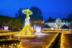 Oliwa Park at night. Christmas illumination at night in Oliwa Park, Poland Royalty Free Stock Photography