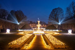 Oliwa Park at night. Christmas illumination at night in Oliwa Park, Poland Stock Photos