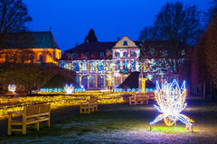 Oliwa Park at night. Christmas illumination at night in Oliwa Park, Poland Royalty Free Stock Photos