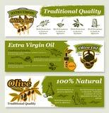 Oliwa z oliwek i owocowy zdrowy karmowy sztandaru szablon ilustracji