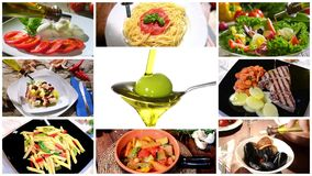 Oliwa z oliwek w śródziemnomorskiej kuchni, kolaż zdjęcie wideo