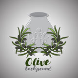 Oliwa z oliwek w garnku i gałązce oliwka Zdjęcie Royalty Free
