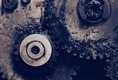 Oliwiący gearwheels jako maszynerii szczegóły Fotografia Royalty Free
