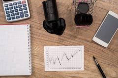 Oliwi, benzyna wykresu kalkulatora dolar, pióro na biurku Zdjęcie Royalty Free