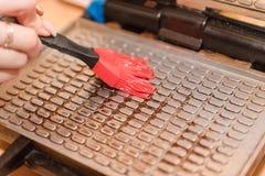 Oliwi gofra żelazo z olejem domowej roboty gofry Domowy kucharstwo fasoli marchewek kalafiorów karmowi naturalni smyczkowi warzyw obraz stock