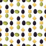 Oliwka bezszwowy wzór z dojrzałych oliwek tła projekta wektorową ilustracją dla oliwa z oliwek, naturalni kosmetyki Zdjęcia Royalty Free