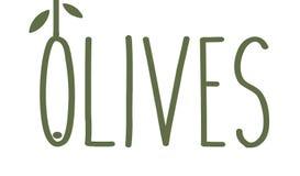 Oliwki cienieją kreskowego emblemat Zielona gałązka oliwna z liśćmi Wyśmienitego jedzenia pojęcia loga niezwykły szablon Prosty l ilustracja wektor
