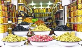 Oliwki na rynku w Maroko fotografia stock
