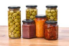Oliwki, pesto, wysuszeni pomidory fotografia stock