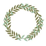 Oliwna kwiecista ilustracja rama, wianek dla poślubiać stacjonarny - gałązki oliwnej/, powitania, tapety, moda royalty ilustracja