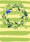 Oliwna wianek akwarela royalty ilustracja