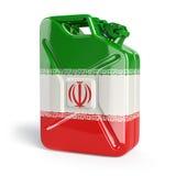 Olja av Iran Den iranska flaggan som målas på gas kan Royaltyfri Fotografi