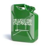 Olja av Saudiarabien Den Saudi Arabian flaggan som målas på gas kan Royaltyfri Foto