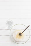 Olja för grönsak för kopp för glass bunke för socker Arkivfoto