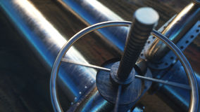 Olja gasventil Rörledning i öken Olje- begrepp framförande 3d Royaltyfria Foton