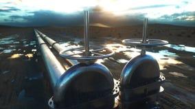 Olja gasventil Rörledning i öken Olje- begrepp framförande 3d Arkivfoton