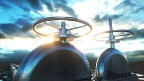 Olja gasventil Rörledning i öken Olje- begrepp framförande 3d Royaltyfri Foto