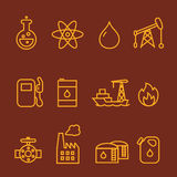Olja- och bensinbranschlinje symbolsuppsättning Arkivbilder