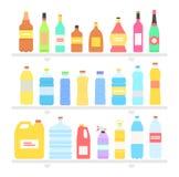 Olja och dryck för lägenhet för fastställd design för flaska royaltyfri illustrationer