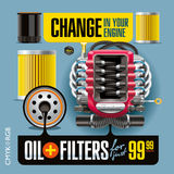 Olja- och filterändring Arkivbilder