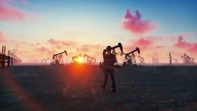Oljaarbetaren kontrollerar oljapumpar på soluppgång på bakgrunden av molnfri härlig himmel Realistisk filmisk animering royaltyfri illustrationer