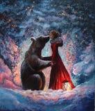 Oljapaintein på kanfas en flicka i den röda klänningen som kramar och kysser ett verkliga bruna Big Bear i den pittoreska vinters vektor illustrationer