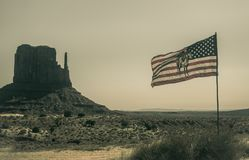 Monument Valley, Utah. Flag of the Navajo. Oljato-Monument Valley, Arizona, USA - June 21, 2017: Flag of Indigenous Navajo Indians against the background of the stock photo