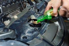Olje- ändring för kylmedel, hällande olja till bilmotorn, ändrande motor för bilmekaniker Royaltyfri Foto