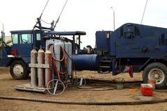Olje- överge lastbil Royaltyfria Bilder