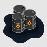 Olje- bränsle barrels den isometriska symbolen Royaltyfri Fotografi