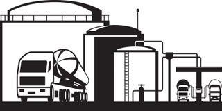 Olje- bussgarage för fördelning vektor illustrationer