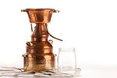 Olje- destillationsapparat arkivbild