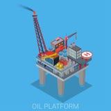 Olje- extraktionplattform för hav med helipaden Royaltyfri Fotografi