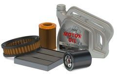 Olje- filter för bil och can för motorisk olja vektor illustrationer