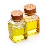Olje- flaska av massage och vätsketvål arkivbild