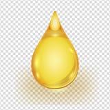 Olje- guld- droppe som isoleras på genomskinlig bakgrund stock illustrationer