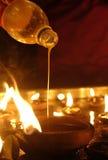 Olje- lampa för hinduisk festival Arkivfoto